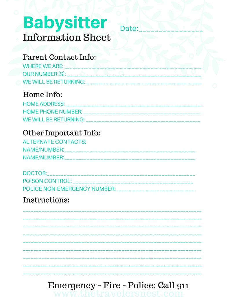 photo relating to Babysitter Info Sheet Printable identify No cost Printable: Babysitter Details Sheet - The Visitors Nest
