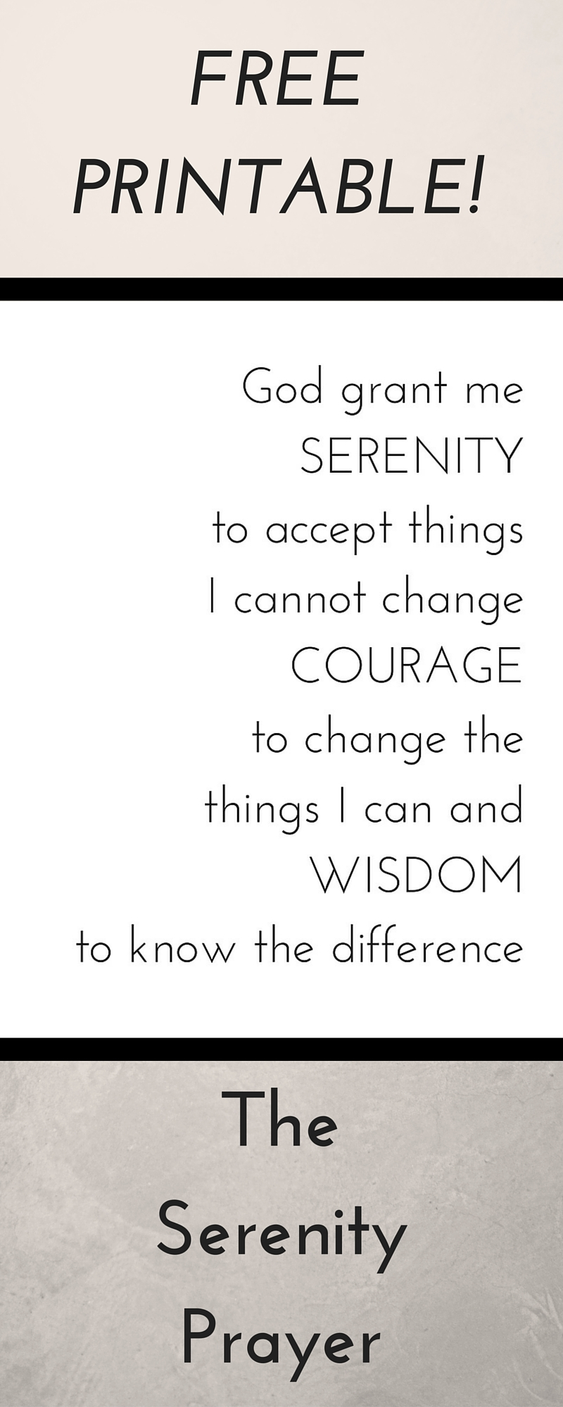 photograph regarding Prayer Printable called Serenity Prayer Printable - The Visitors Nest