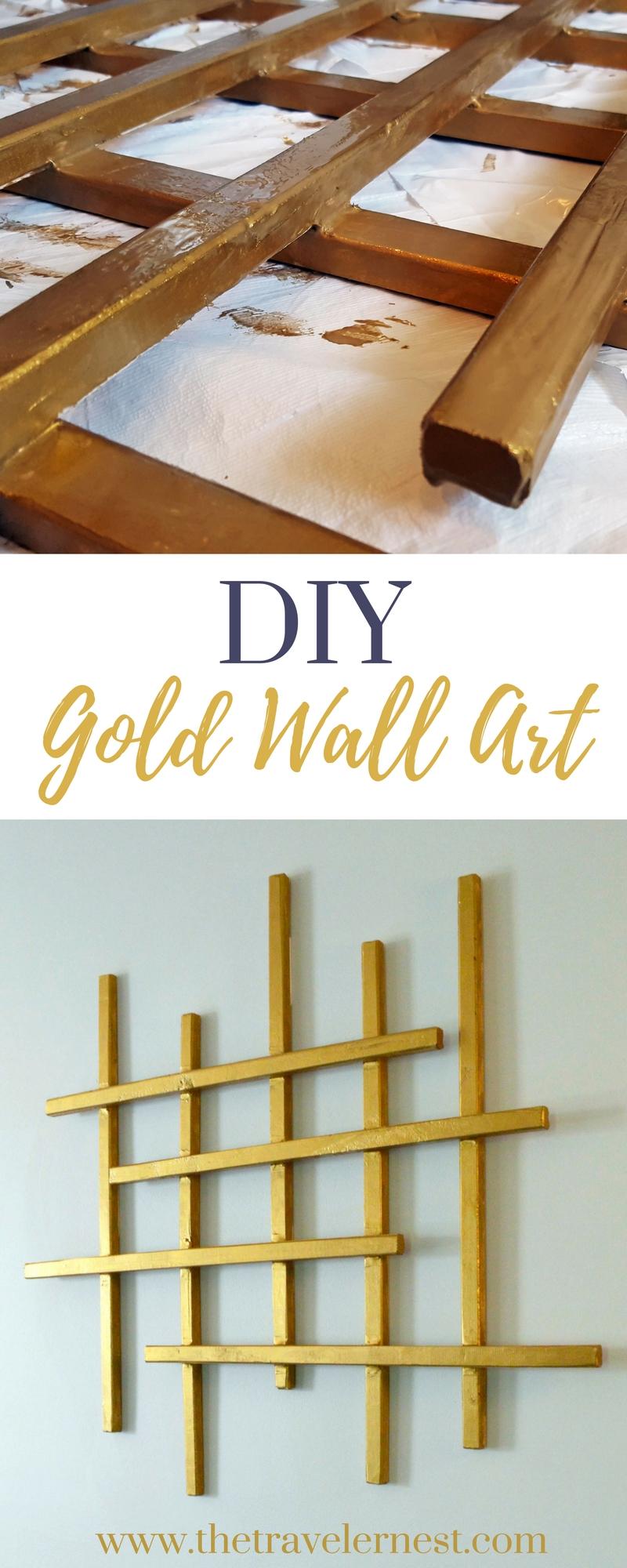 Gold Wall Decor Diy : Diy gold wall art the traveler s nest